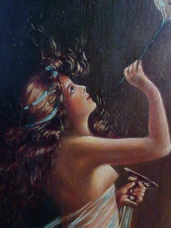 469: Art Nouveau Nude Bubble Blower PAINTING. - 4