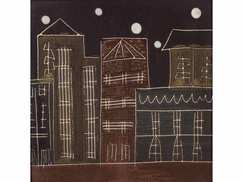 Harris Strong Modernist Cityscape Ceramic Pottery Tile