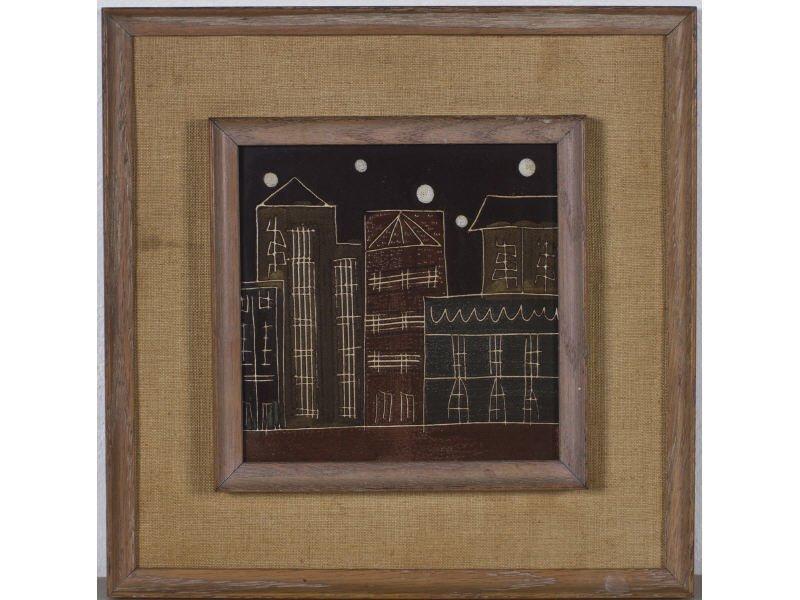 Harris Strong Modernist Cityscape Ceramic Pottery Tile - 2