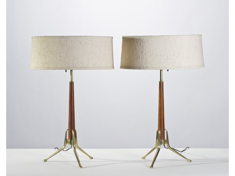 Pair of Gerald Thurston Tripod Table Lamps