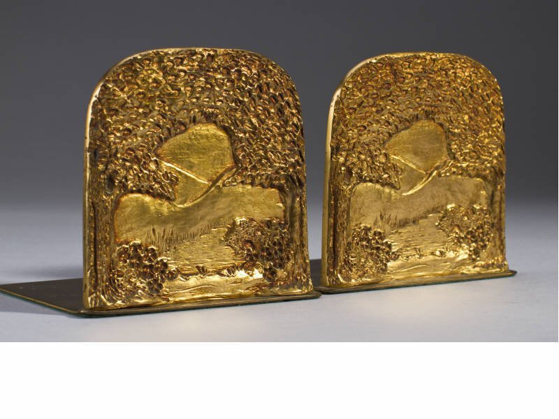 Pair Tiffany Favrile Fire Gilt Bronze Bookends