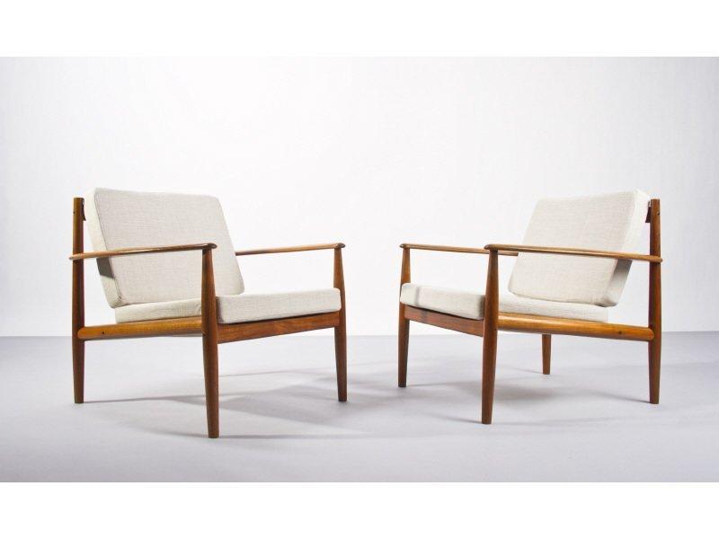 Pair Danish Modern Grete Jalk Teak Lounge Chairs
