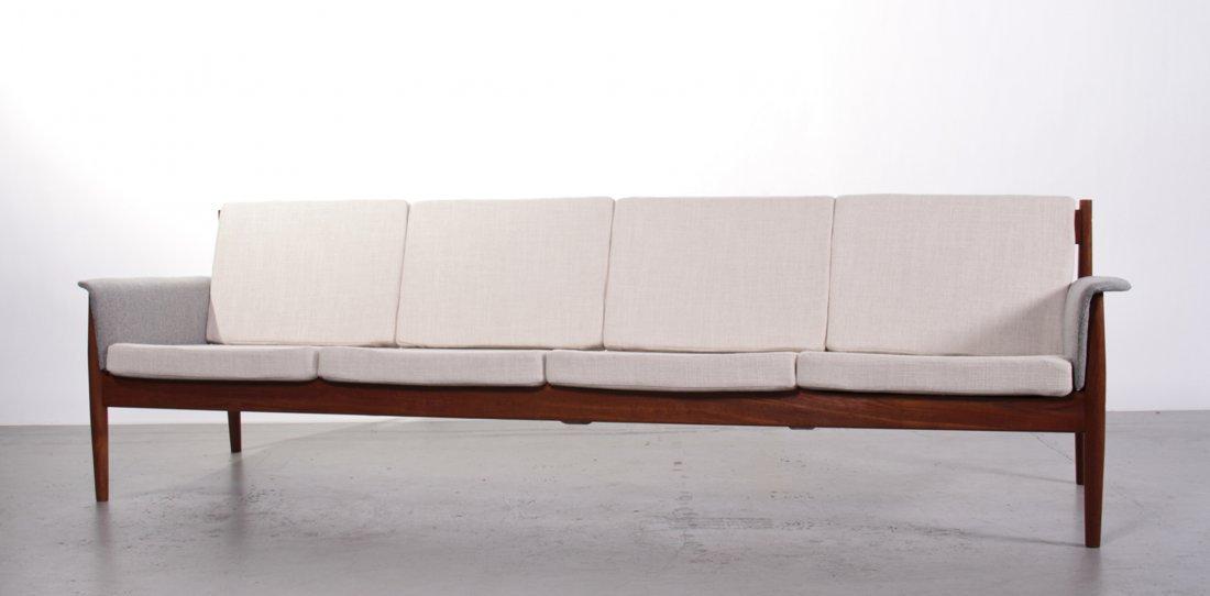 Danish Modern Grete Jalk Teak Upholstered Sofa