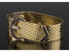 Tiffany 14K Gold Diamond Sapphire Buckle Bracelet