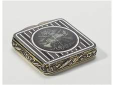 Art Deco French Enamel Sterling Silver Compact