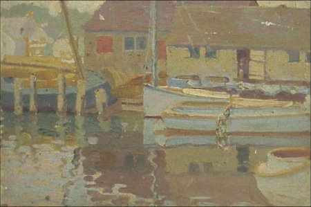 9: Amer. Gloucester Rockport Harbor Oil 1930