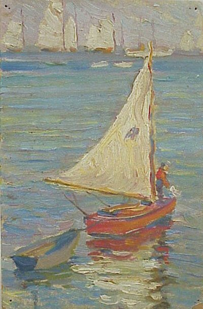10:  Rockport Gloucester Sailboat 1920s Oil