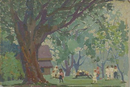12: Children Playing in Park 1920s Painting