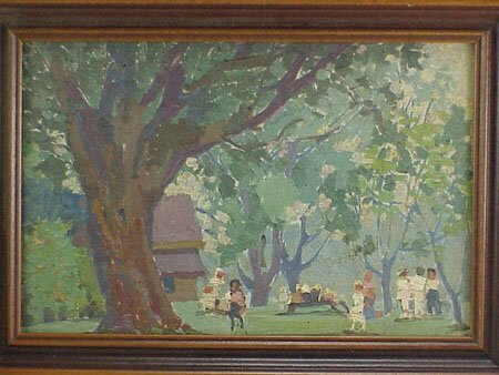12: Children Playing in Park 1920s Painting - 2