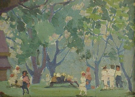 12: Children Playing in Park 1920s Painting - 3