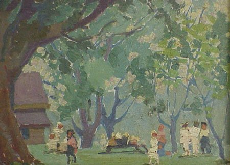 12: Children Playing in Park 1920s Painting - 4
