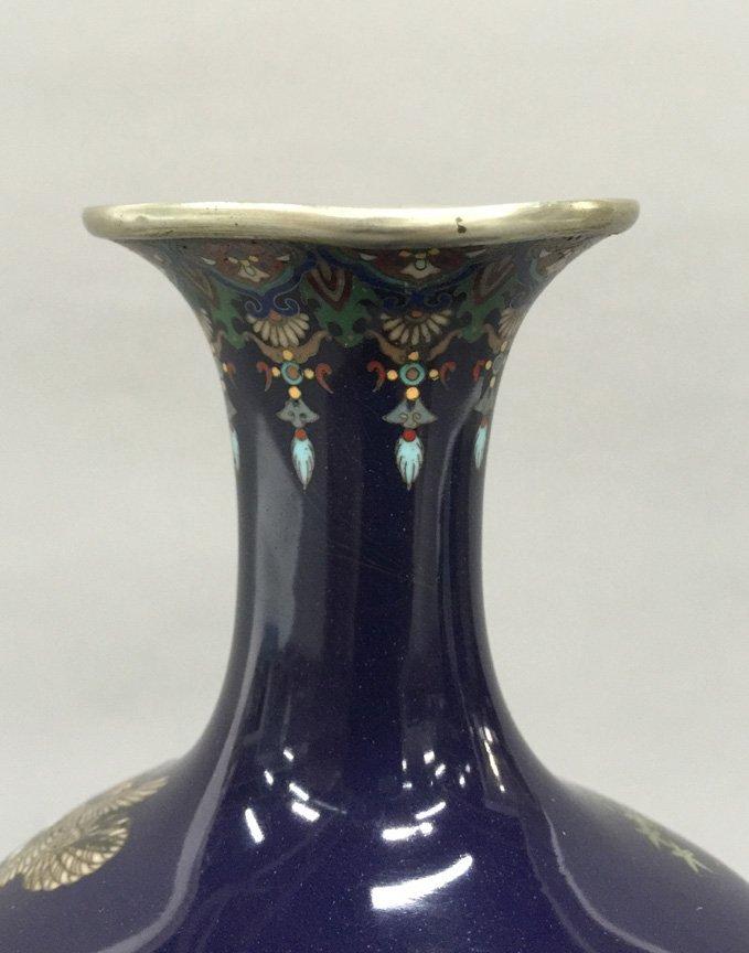 Japanese Meiji Cloisonne Silver Wire Bird Vermeil Vase - 10