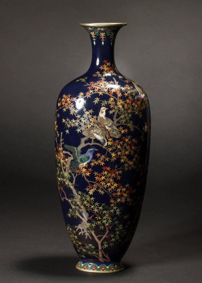 Japanese Meiji Cloisonne Silver Wire Bird Vermeil Vase