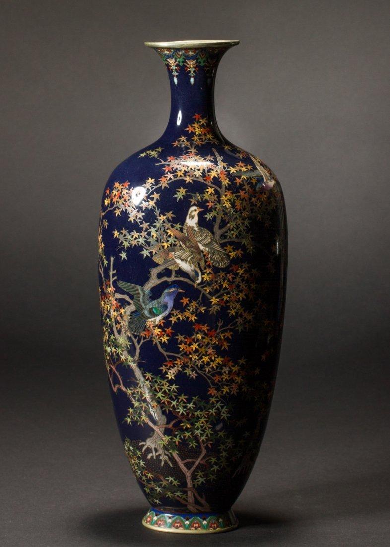 Japanese Meiji Cloisonne Silver Wire Bird Vermeil Vase - 2