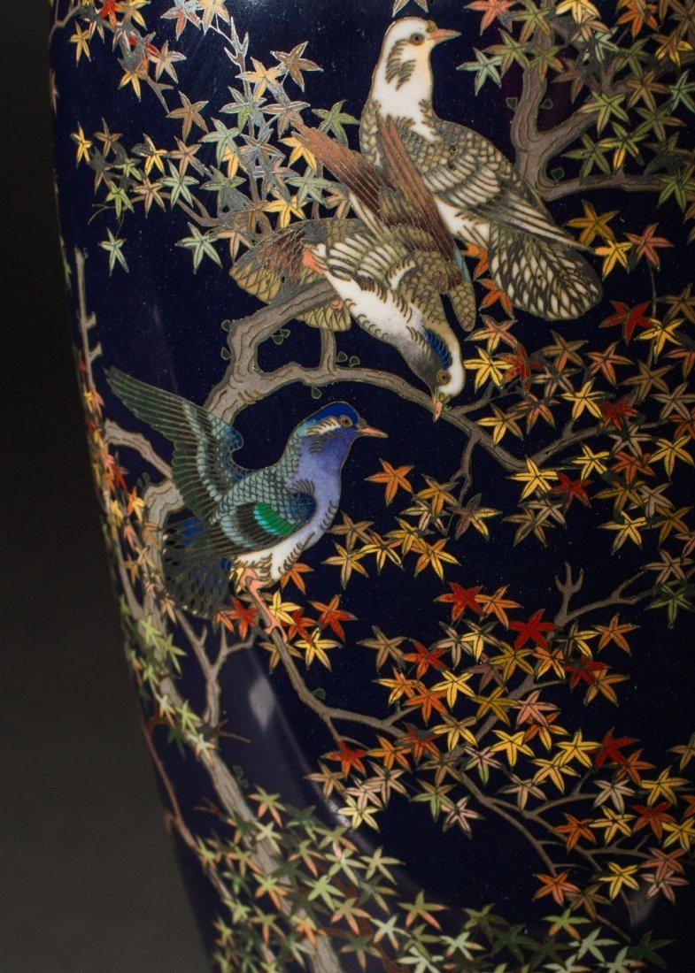 Japanese Meiji Cloisonne Silver Wire Bird Vermeil Vase - 3