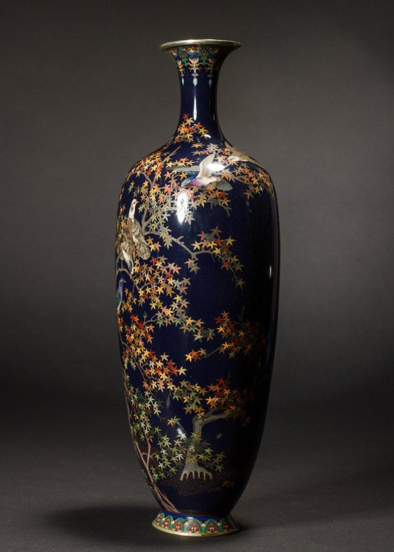 Japanese Meiji Cloisonne Silver Wire Bird Vermeil Vase - 4