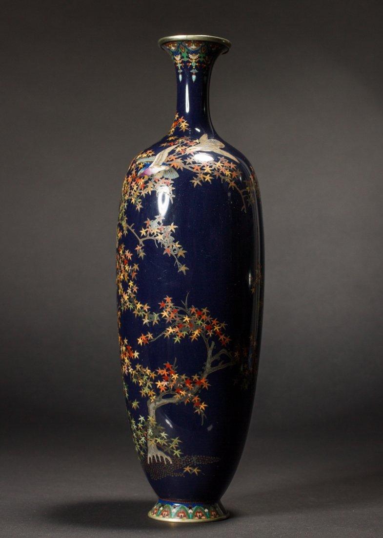 Japanese Meiji Cloisonne Silver Wire Bird Vermeil Vase - 5