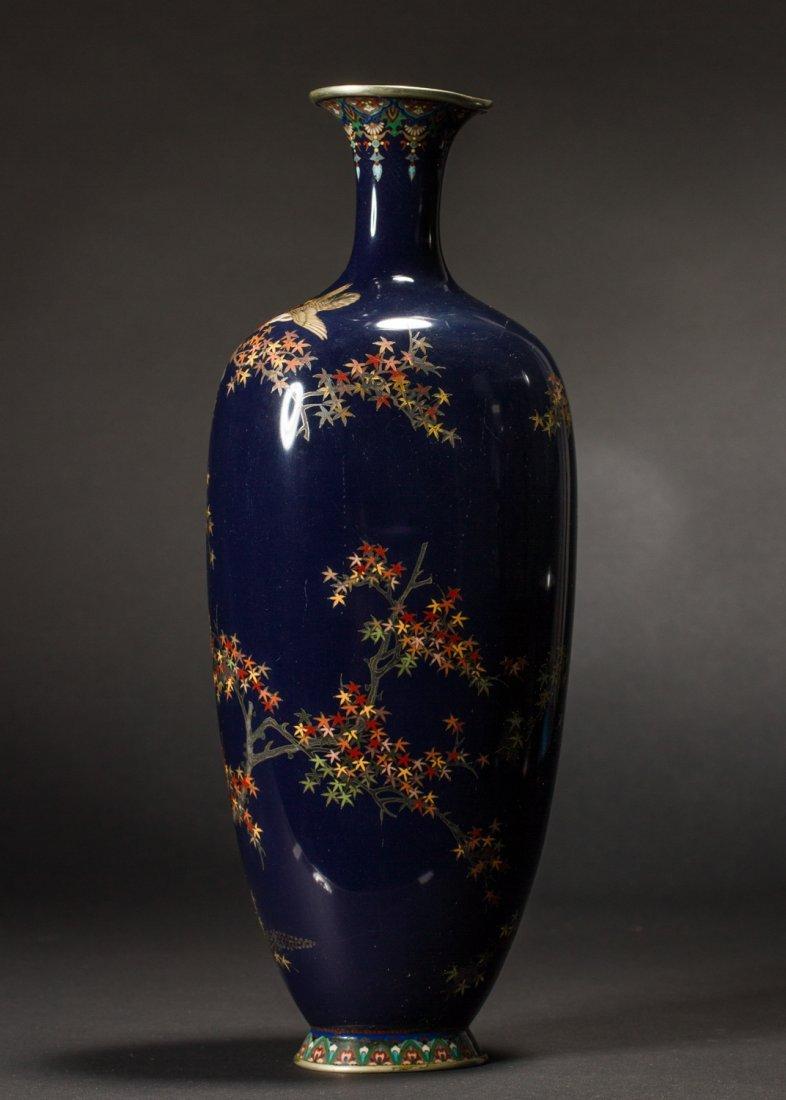 Japanese Meiji Cloisonne Silver Wire Bird Vermeil Vase - 6