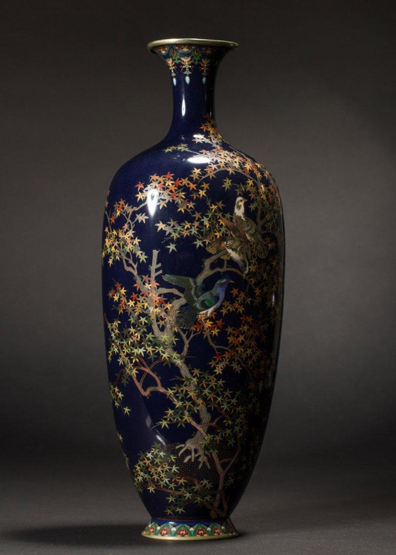 Japanese Meiji Cloisonne Silver Wire Bird Vermeil Vase - 7