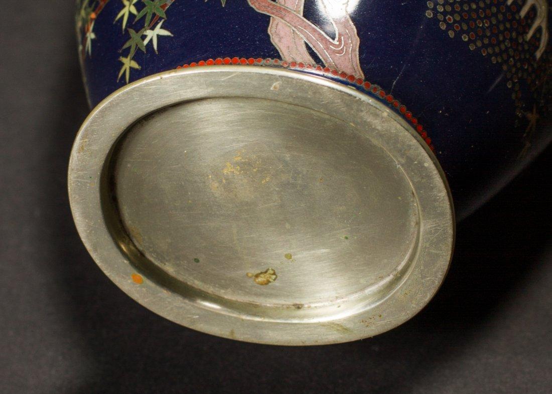 Japanese Meiji Cloisonne Silver Wire Bird Vermeil Vase - 9