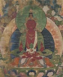 Asian Early 19C Buddhist Chinese - Red Tara Painting
