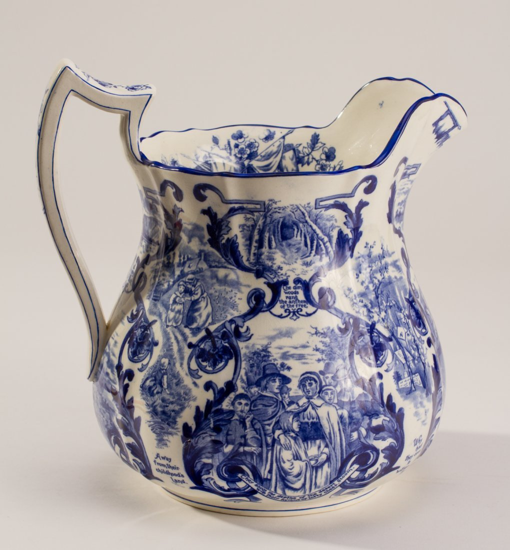 English 1907 Blue White Copeland Spode Pilgrim Jug - 2
