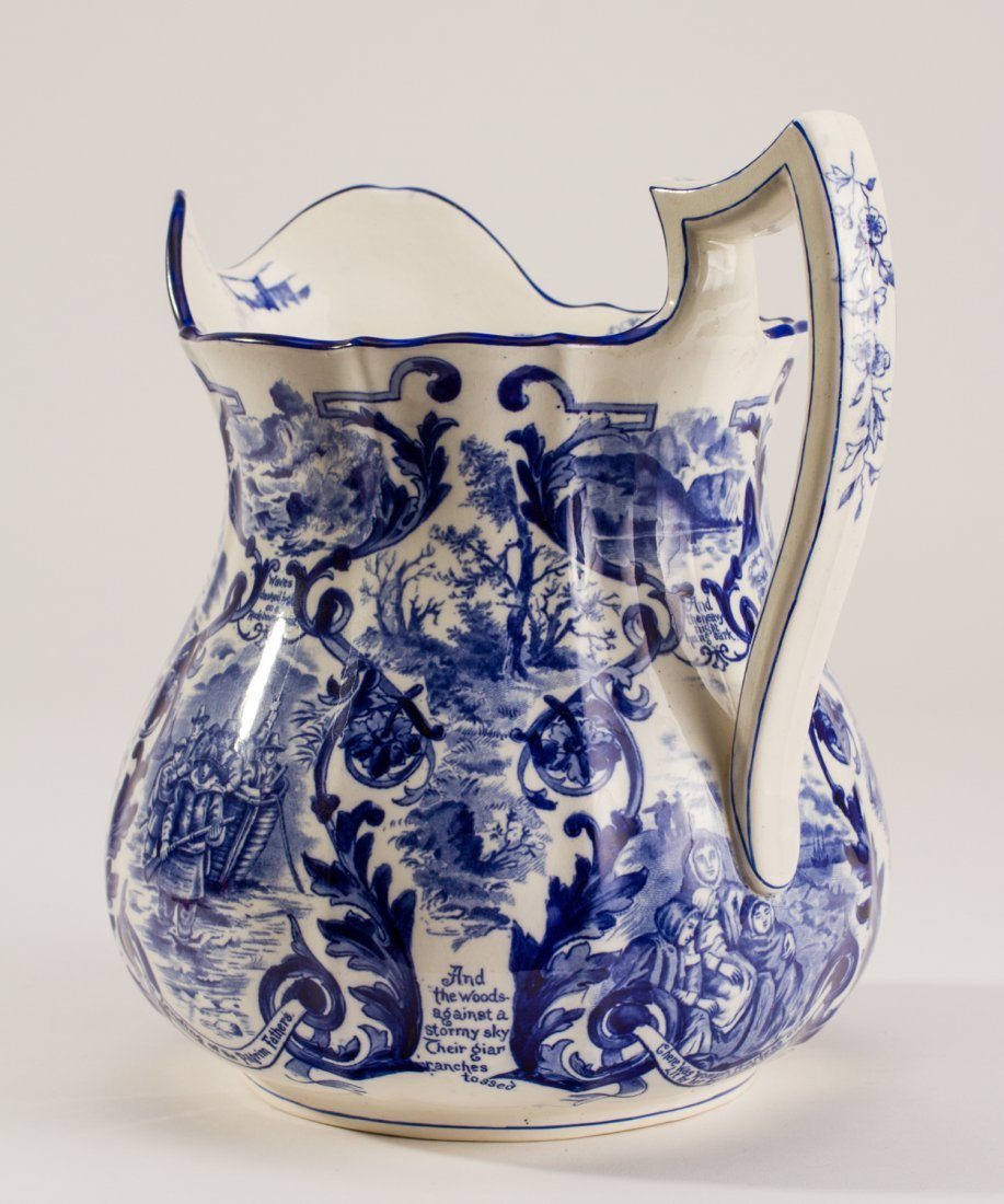 English 1907 Blue White Copeland Spode Pilgrim Jug - 4