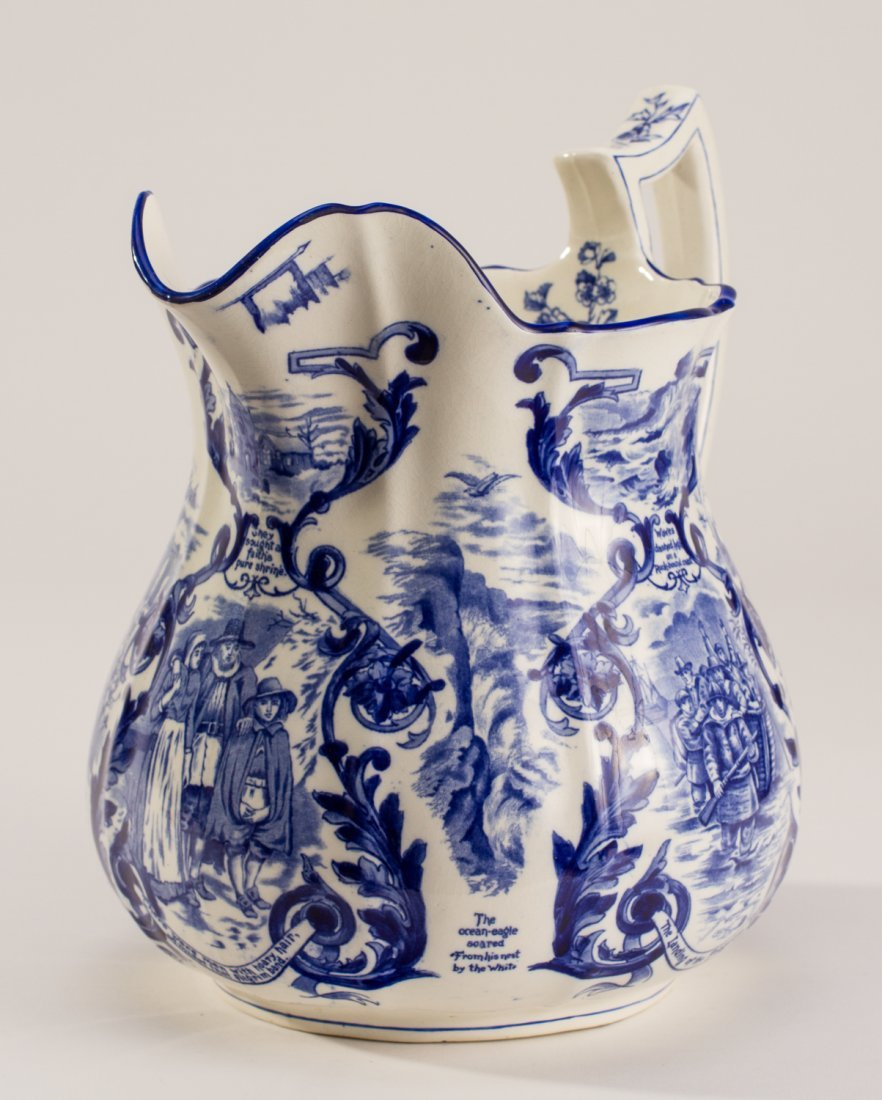 English 1907 Blue White Copeland Spode Pilgrim Jug - 5