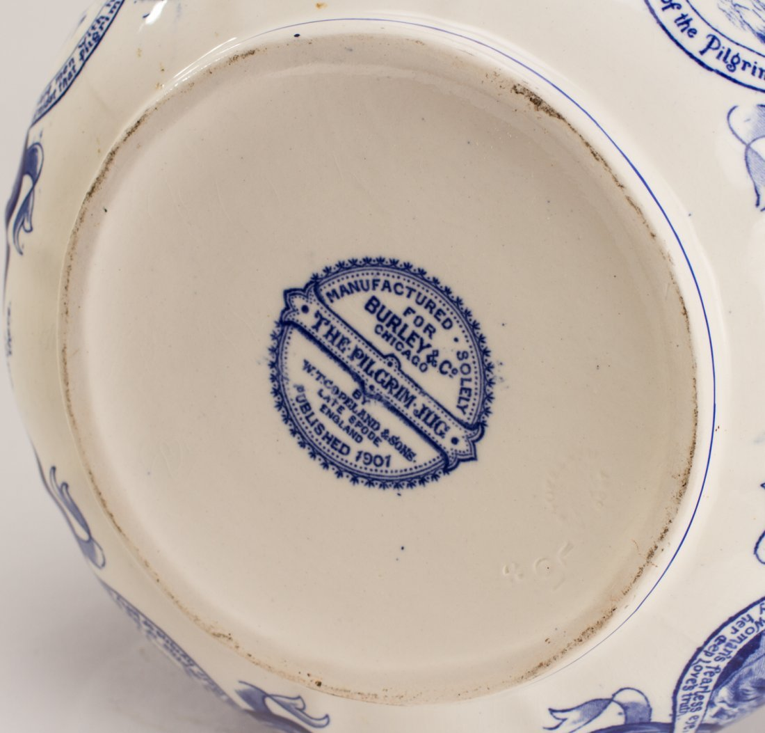 English 1907 Blue White Copeland Spode Pilgrim Jug - 6