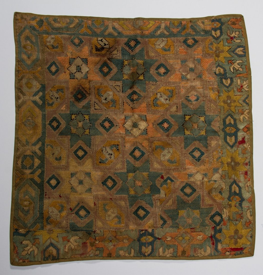 Early 18C KAITAG Textile Geometric Panel Rug Embroidery - 2