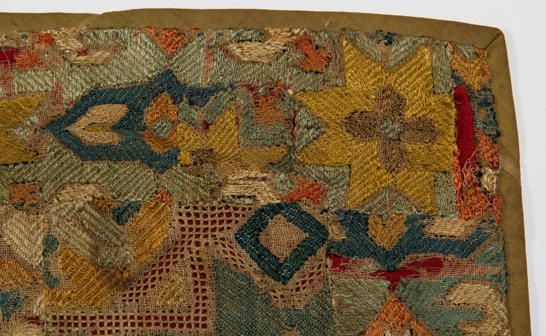 Early 18C KAITAG Textile Geometric Panel Rug Embroidery - 4