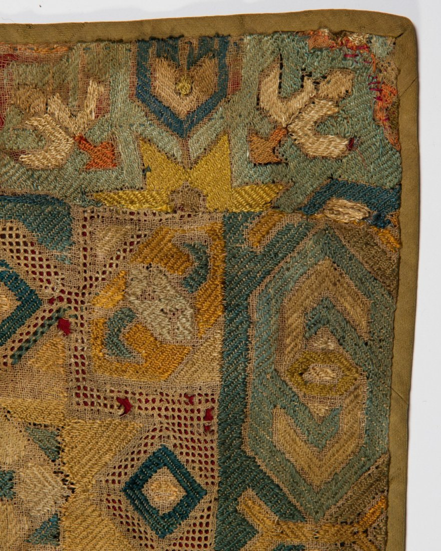 Early 18C KAITAG Textile Geometric Panel Rug Embroidery - 5