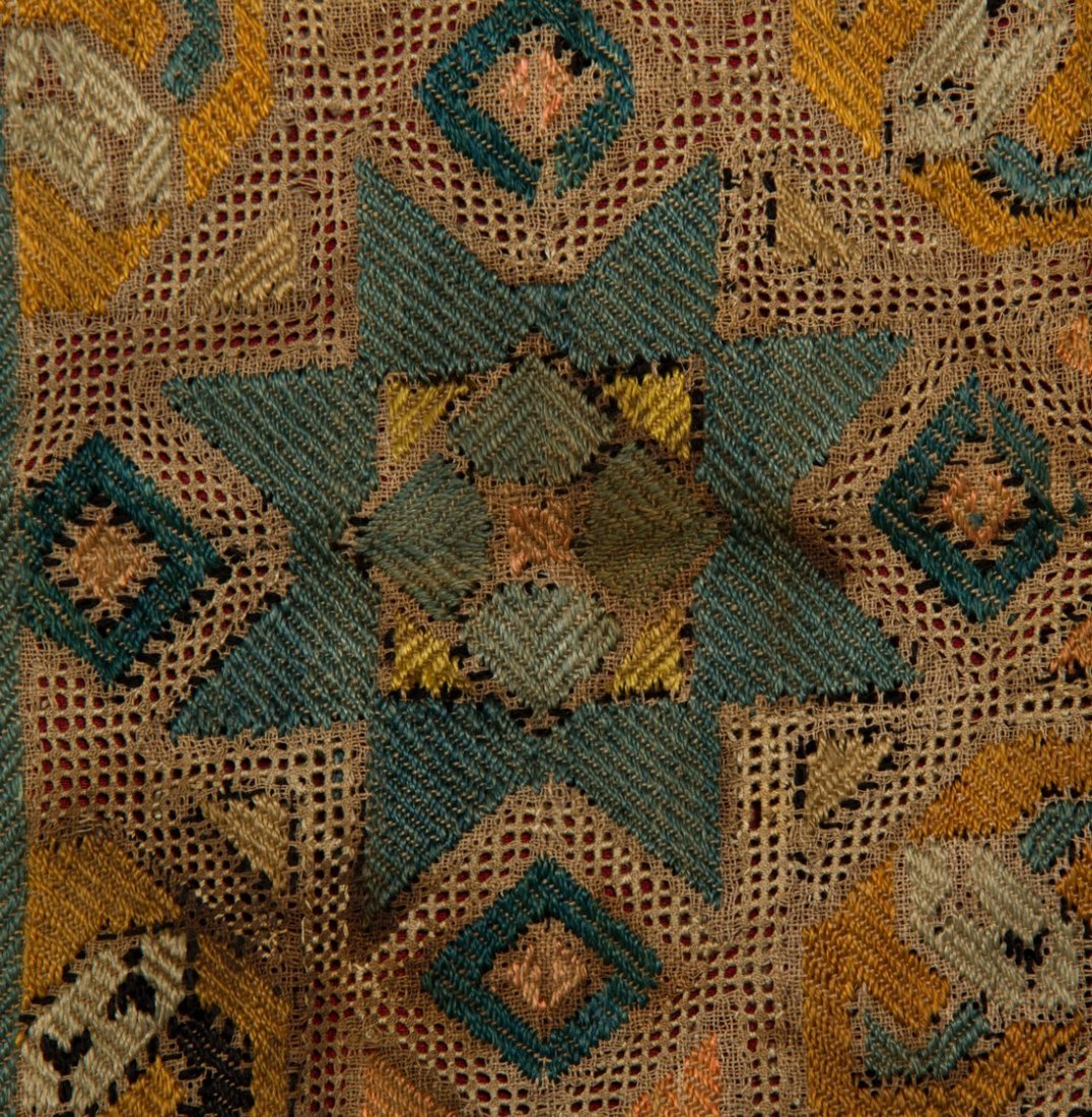 Early 18C KAITAG Textile Geometric Panel Rug Embroidery - 6