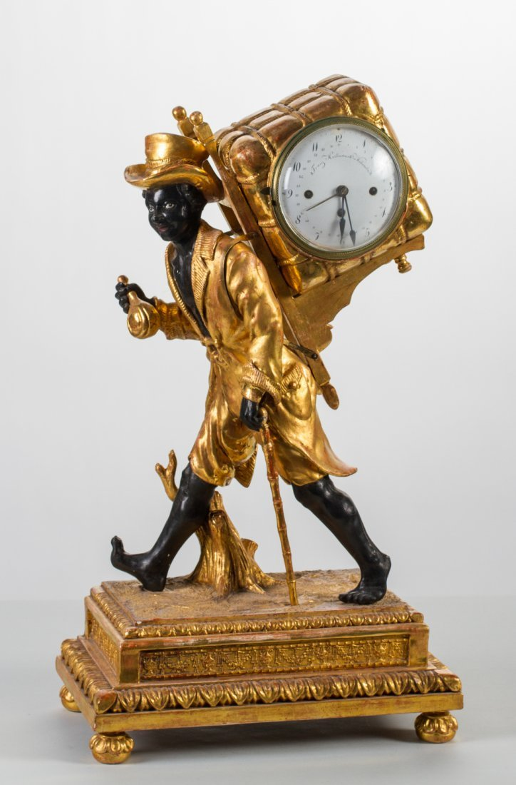 "German 19C Gilt Black Porter Blackamoor 27"" Clock"