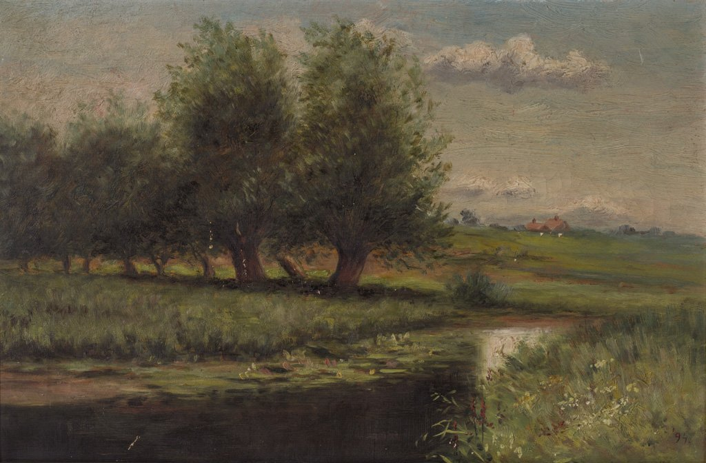 American 19thCentury signed 1894 Landscape Oil Painting
