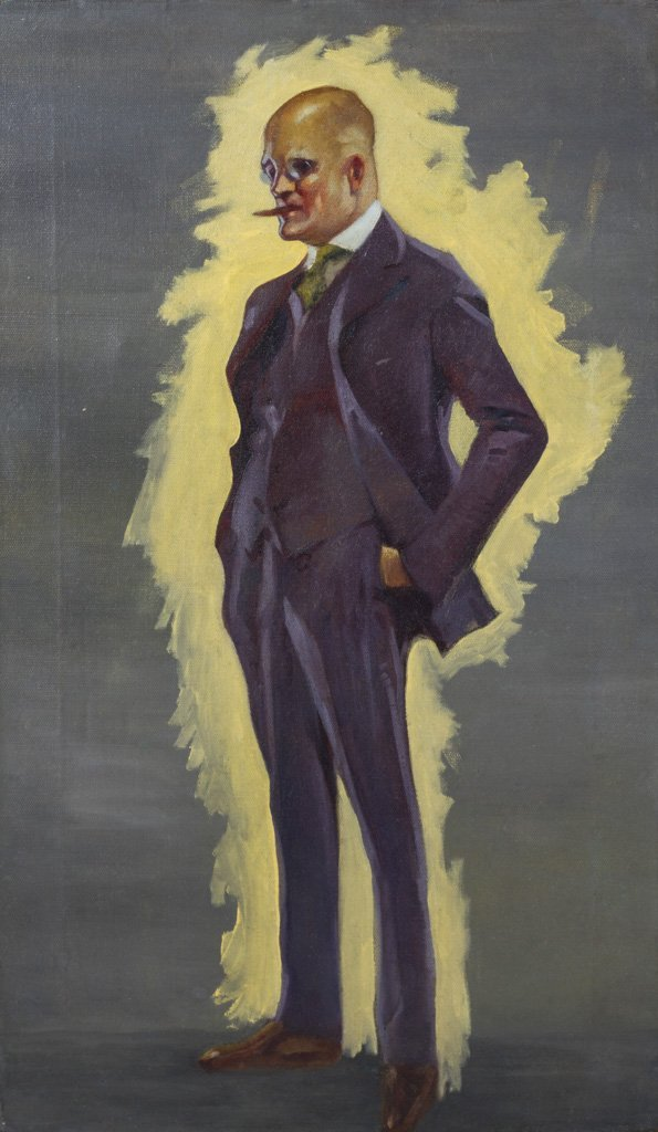 "American 1920's Illustration ""Daddy Warbucks"" Painting"