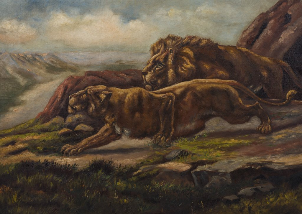 American 1920's Lion & Lioness Signed o/c Oil Painting