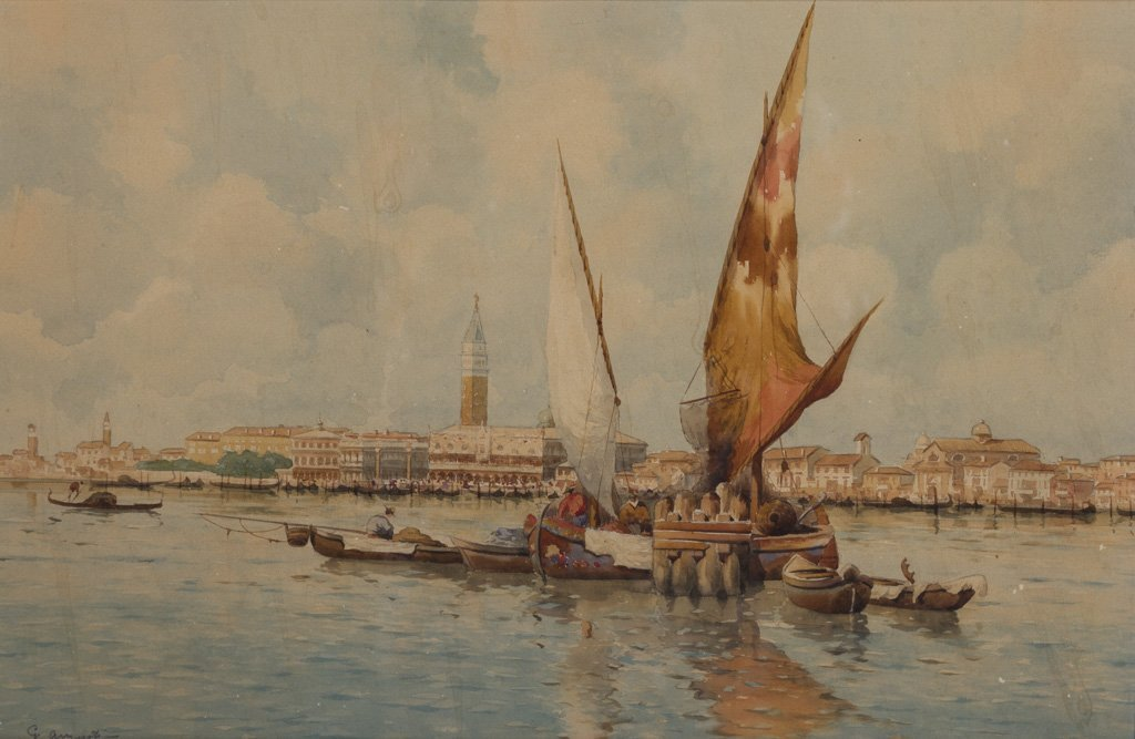 August, G. (20th Century) Venice Watercolor Painting