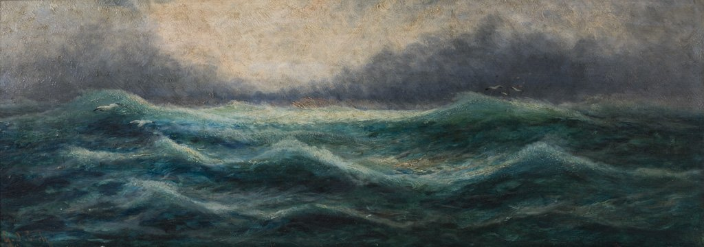 "Austrian ""No. 40 on High Sea"" Oil Wood Panel Painting"