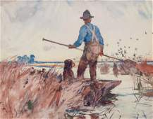 Benson, Frank W. (American, 1862-1951) Punter Painting