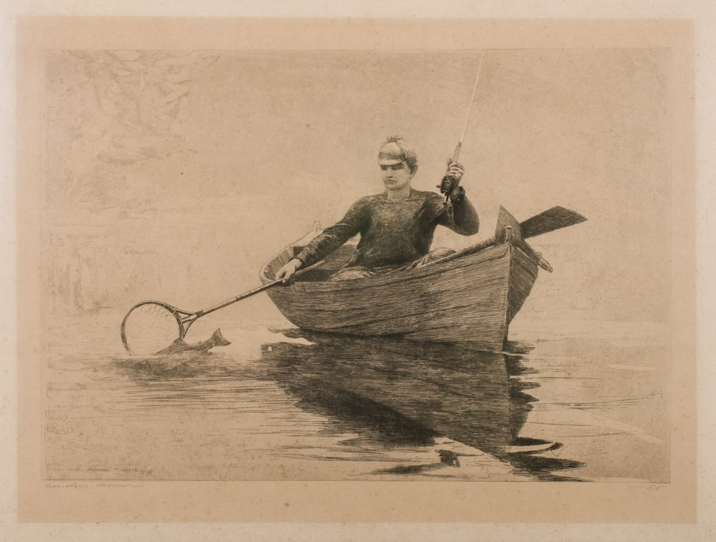 """Homer, Winslow 1889 """"Fly Fishing Saranac Lake"""" Etching"""