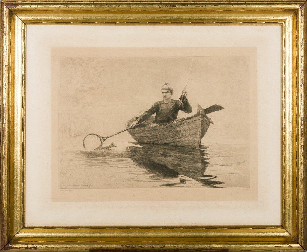 """Homer, Winslow 1889 """"Fly Fishing Saranac Lake"""" Etching - 2"""
