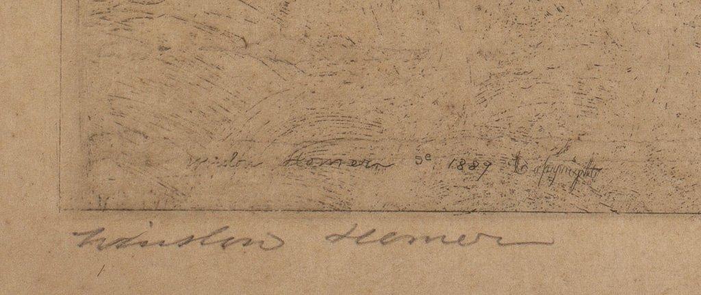"""Homer, Winslow 1889 """"Fly Fishing Saranac Lake"""" Etching - 3"""