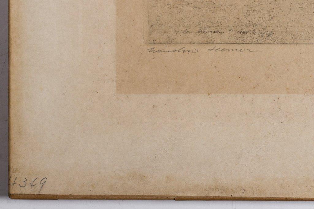 """Homer, Winslow 1889 """"Fly Fishing Saranac Lake"""" Etching - 4"""
