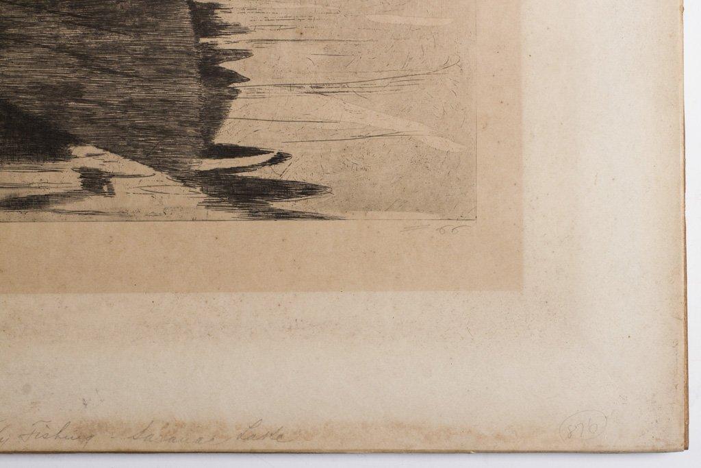 """Homer, Winslow 1889 """"Fly Fishing Saranac Lake"""" Etching - 5"""