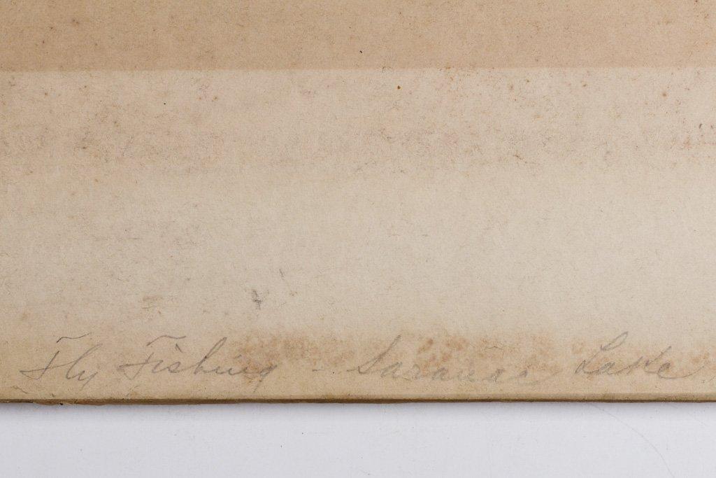 """Homer, Winslow 1889 """"Fly Fishing Saranac Lake"""" Etching - 6"""