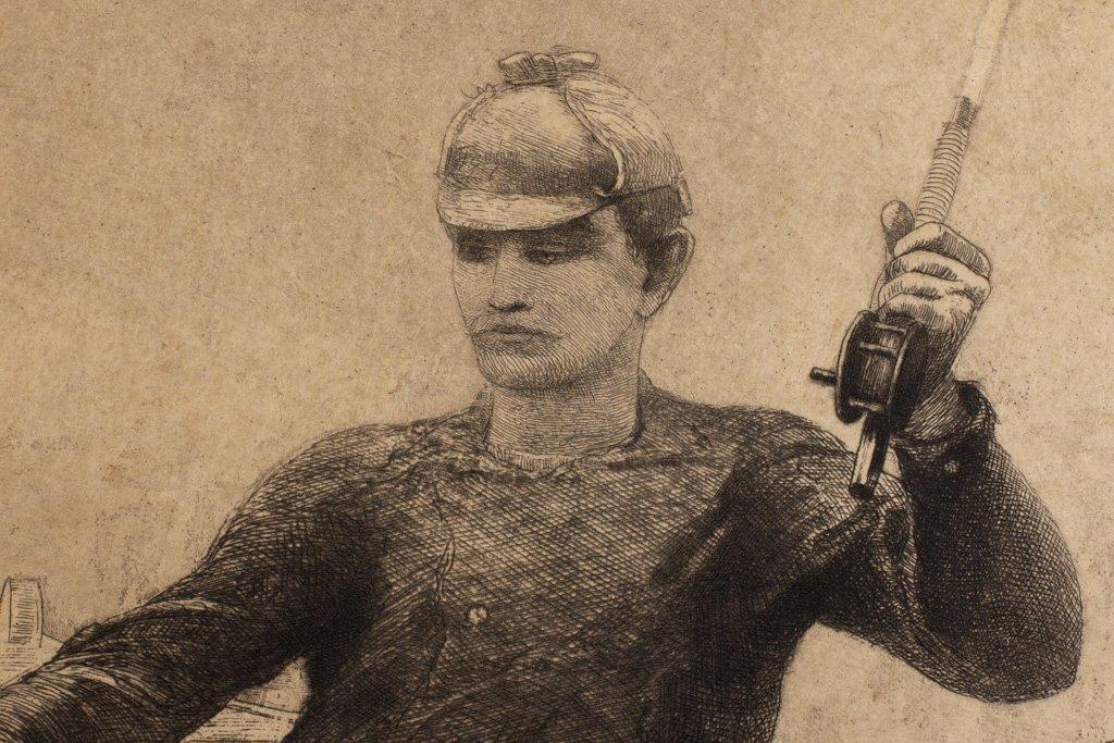 """Homer, Winslow 1889 """"Fly Fishing Saranac Lake"""" Etching - 7"""