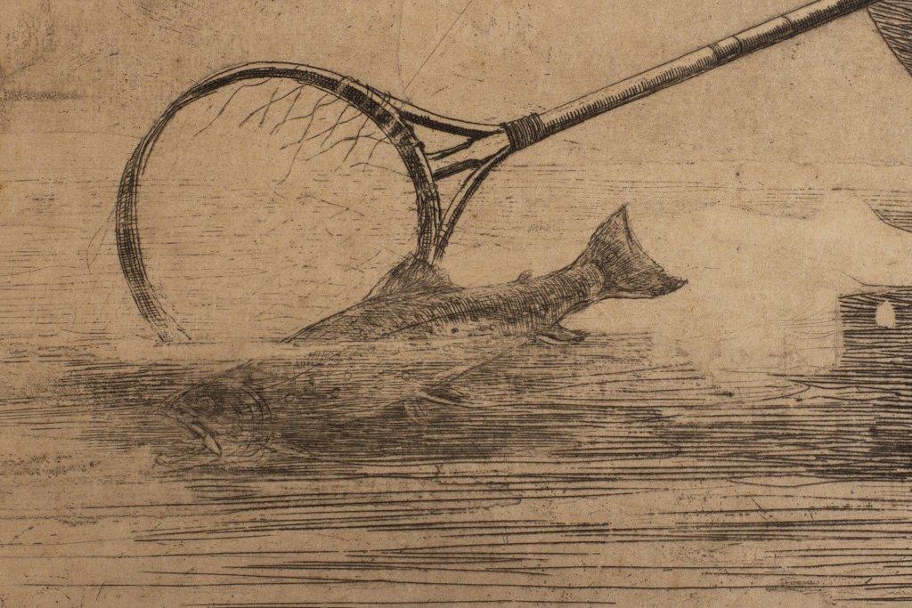 """Homer, Winslow 1889 """"Fly Fishing Saranac Lake"""" Etching - 8"""