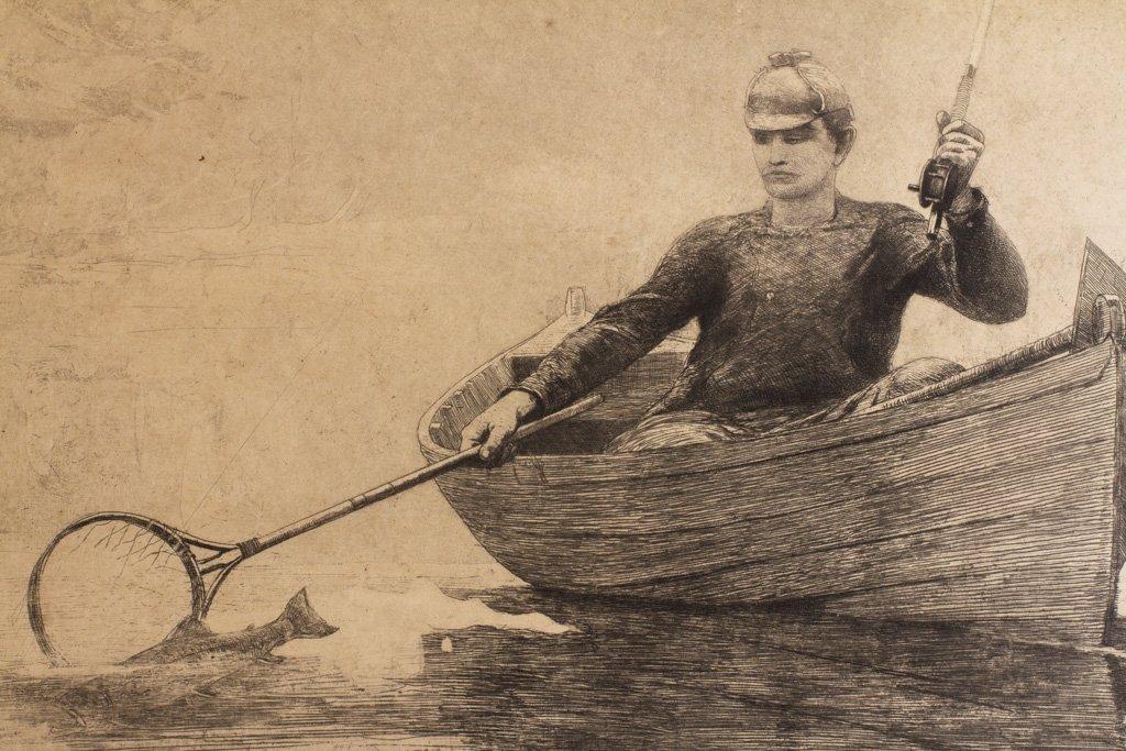 """Homer, Winslow 1889 """"Fly Fishing Saranac Lake"""" Etching - 9"""