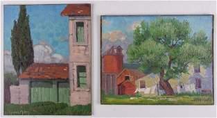 Miles, Gene (American early 20th C) Pair Oil Paintings